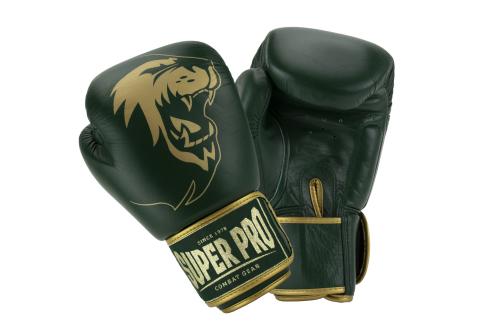 Super Pro Warrior SE Lederen Kickbokshandschoenen Groen/Goud 12oz