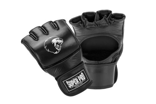 Super Pro Combat Gear Slugger MMA Handschoenen Leder Zwart/Wit Medium